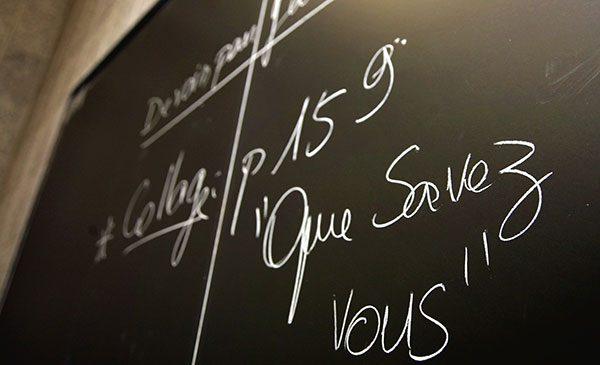 French writings on a blackboard