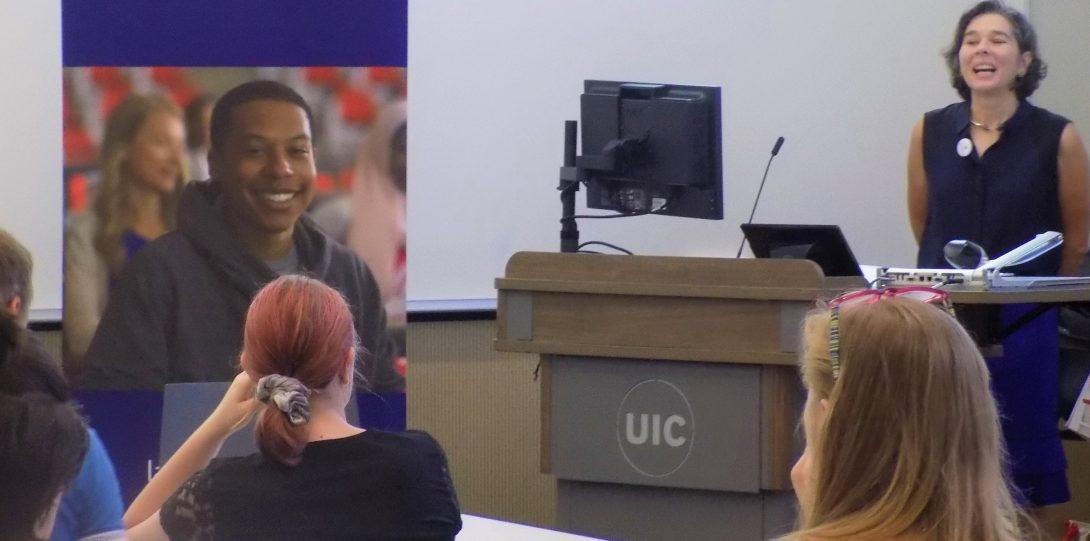 professor Rott gives a presentation to prospective students