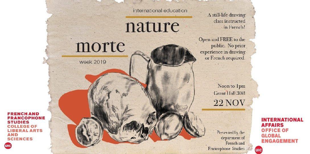a flyer illustrating nature morte event