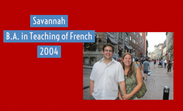 Savannah and her amazing husband in Old Montreal