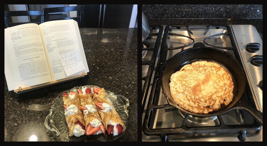 cookbook and crepes on the counter; crepe in a skillet