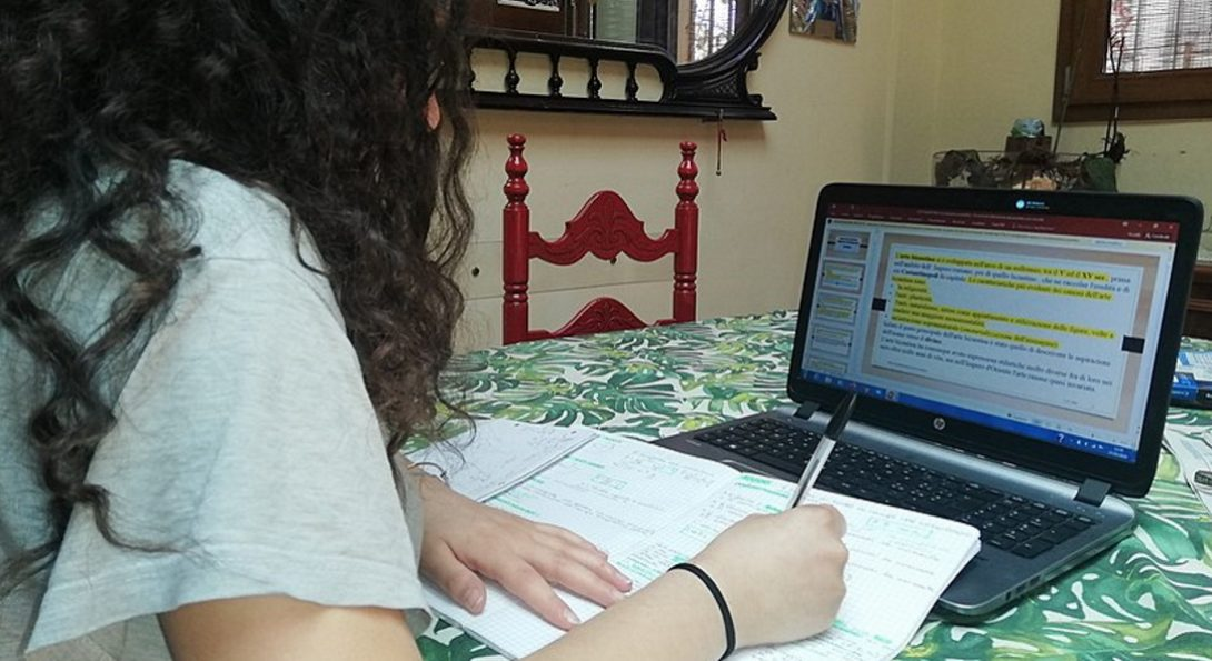 A student in an online learning session