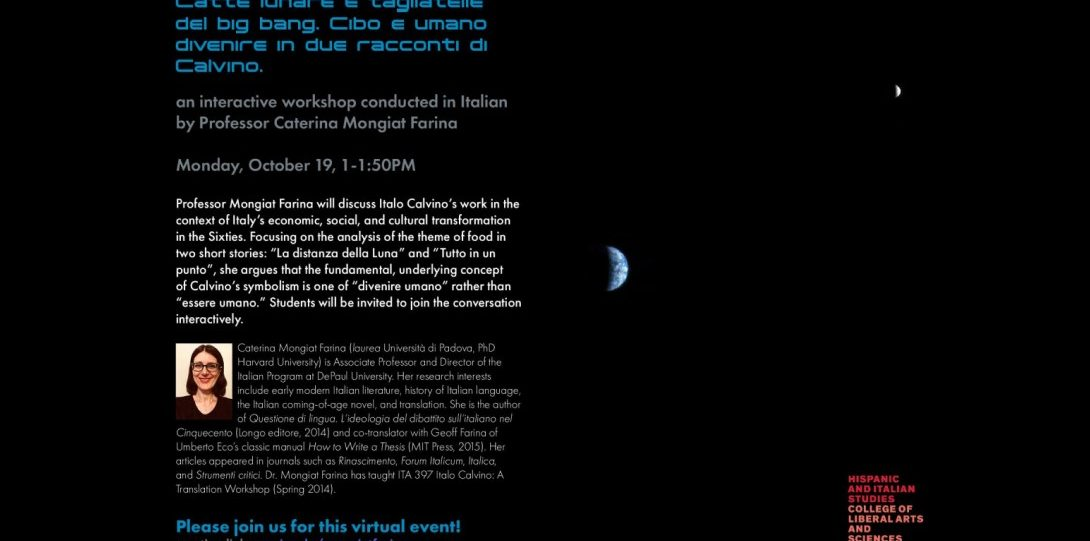 Italian Culture Workshop hosted by Caterina Mongiat Farina