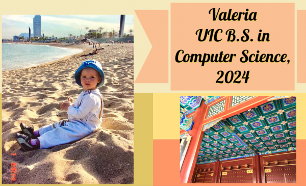 Valeria at the beach in Barcelona and a photo from her trip to China
