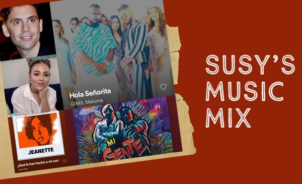 Susy's Music Mix collage includes Jeannette, J Balvin, GIMS, and Maluma