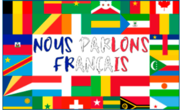 Francophone country flags with French text: nous parlons francais
