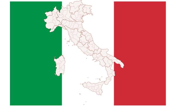 Italian flag and map