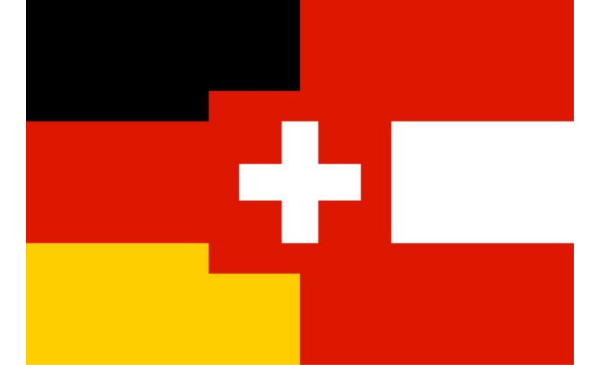 Collage of German-speaking country flags