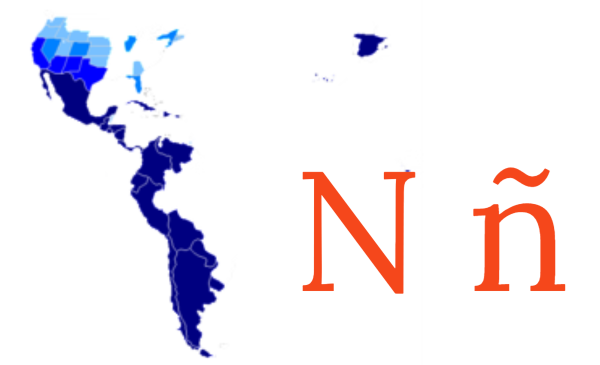 Spanish speaking map and the letter ñ